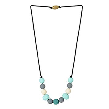 Chewbeads Chelsea Teething Necklace, 100% Safe Silicone - Multi-Color Turquoise