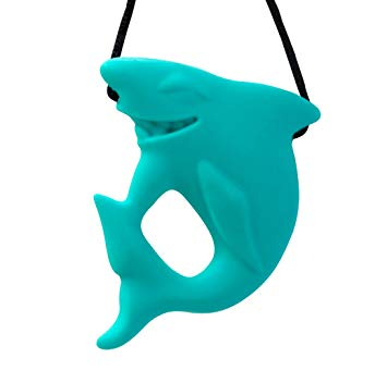 Stimtastic Chewable Silicone Shark Pendant Nontoxic BPA and Phthalate Free, Turquoise