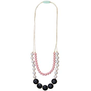 Mama & Little Lana Silicone Baby Teething Necklace for Moms - Nursing Necklace in Marble - Teething Beads...