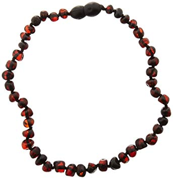 Momma Goose Baroque Teething Necklace, Dark Cherry, Small/11-11.5