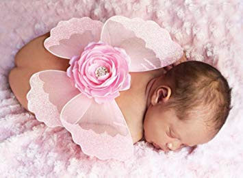 Mud Pie Newborn Girl Pink Jeweled Baby Angel Flower Wings, (0-6 months)