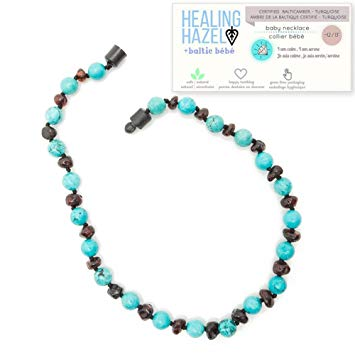 Healing Hazel + baltic bébé – 100% Certified Balticamber Pop Clasp Children Necklace with Gemstones,...
