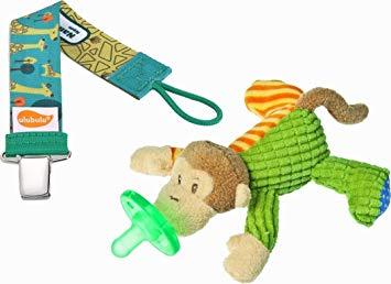Mango Monkey Wubbanub and Ulubulu Green Giraffe Pacifier Clip