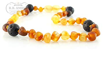 Baltic Amber Aromatherapy Teething Necklace with Lava Rock (10-11 inches, Unpolished Rainbow...