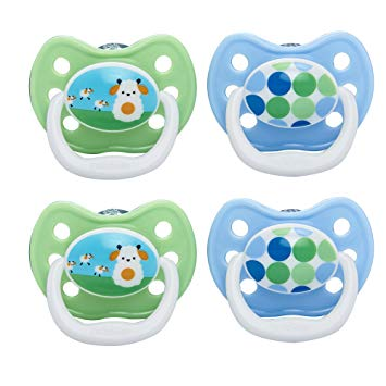 Dr. Brown's PreVent Classic Pacifier, Stage 1 (0-6m), Unique Blue/Green, 4-Pack