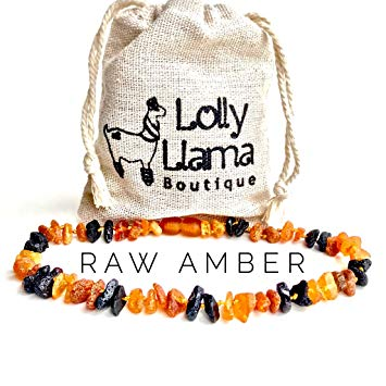 Raw Baby Baltic Amber Teething Necklace for Drooling & Teething Pain Relief - Certified Genuine Baltic...