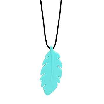 Bumkins Nixi Feather Silicone Pendant Teething Necklace, Turquoise