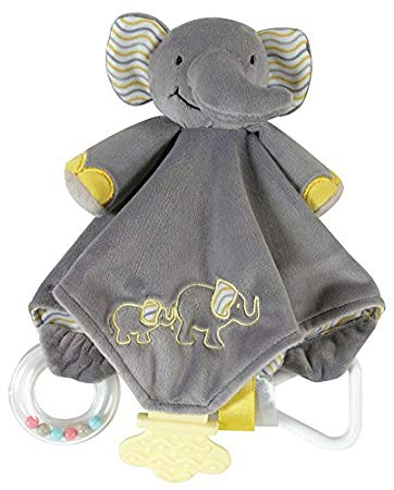 Stephan Baby Chewbie Activity Toy and TeeTher Security Blanket, Grey Elephant