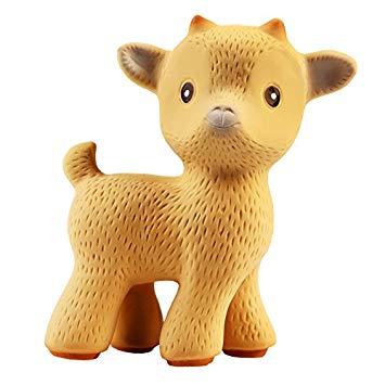 CaaOcho 100% Pure Natural Rubber - Sola the Goat Teething Toy (Tan) - BPA, PVC, phthalates Free …