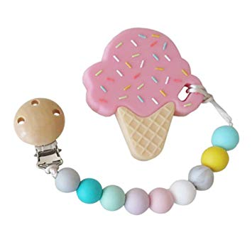 Eco-Friendly Ice Cream Teether & Silicone Pacifier Clip, Strawberry, Non-Toxic & BPA-Free