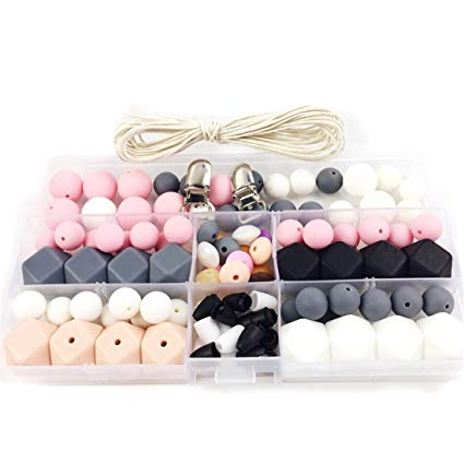 Slicone Teether Baby DIY Crafts Set Pacifier Clips Crib Toy Safe and Natural Silicone Bead Teether Necklace Pendant