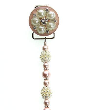 Elegant Pink and Ivory Vintage Flower Pearls and Beads Keepsake Infant Girl Pacifier Clip 8 Inch (A6P)