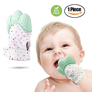 A-tec Premium Baby Teething Mitten, Stays On Hand, Easily Washable, Self Soothing Fun, Unisex 3-18 Months