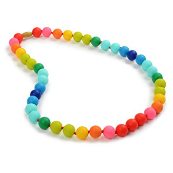 Chewbeads Christopher Teething Necklace (Rainbow) - Original Fashionable Teething Jewelry for Mom....
