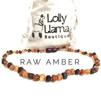 Raw Baroque Baltic Amber Teething Necklace for Babies (Unisex) Drooling & Teething Pain Relief -...