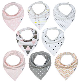 Baby Bandana Drool Bib Set of 8 for Girls, Organic Super Absorbent, Soft, & Chic Drooling and Teething...