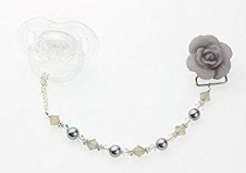 Crystal Dream Grey Swarovski Pearls and Crystals Handmade Flower Sparkly Gift Girl Baby...