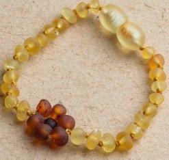 Baltic Amber Teething Bracelet Anklet Raw Lemon Flower Amber Bracelet 6.5 inch for Toddler, Big...
