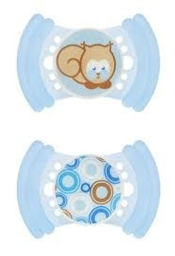 MAM SOFT BPA Free Silicone Pacifier, 6 Months, 2 Pack Blue Asst.