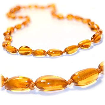 The Art of Cure Baltic Amber Teething Necklace - FTIR Lab Tested Authentic Amber (Honey bean)