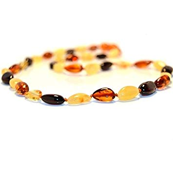 The Art of Cure Baltic Amber Necklace 17 Inch (multicolored bean) - Anti-inflammatory