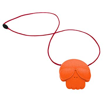 Jellystone Skull Pendant, Carrot with Red cord