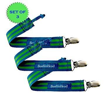 BooginHead PaciGrip Pacifier Holder Blue/Green Stripe (Set of 3!)