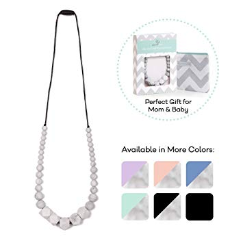 Goobie Baby Madison Silicone Teething Necklace for Mom to Wear, Safe BPA Free Beads to Chew - Marble