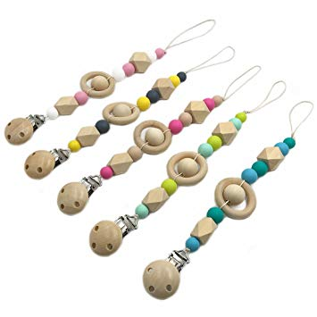 Amyster 5pcs Pacifier Clip Wooden Organic and Silicone Beads Rattle Holder Chewable Baby Accessories...