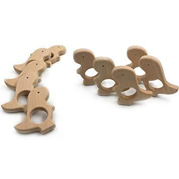 Amyster 10pcs Organic Beech Wooden dinosaur Natural Handmade Wooden Teether Baby Gif DIY...