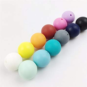 150pc 15mm Silicone Teething Beads Round Loose Organic Nusring Baby Chew Colorful Diy Balls Accessories