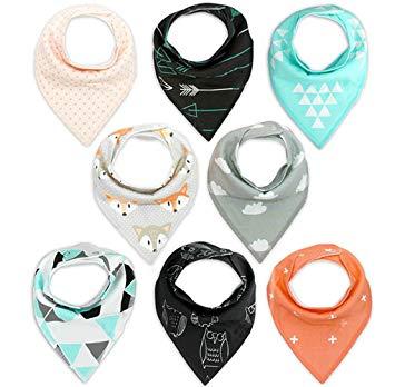 Baby Bandana Drool Bibs Baby Gift Set Unisex Baby Drool Bibs 8 Packs Super Absorbent Cotton Bibs...
