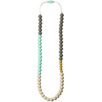 Mama & Little Silicone Baby Teething Necklace for Mom Olivia, Sweet Mint