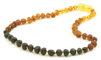 The Art of Cure Original Premium Certified Baltic Amber Teething Necklace (raw rainbow) - 12.5 Inches