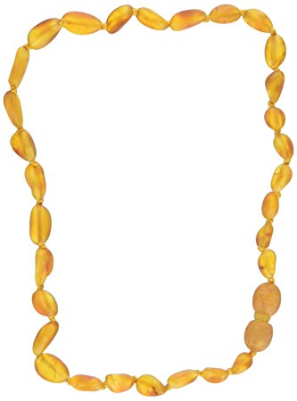 Momma Goose Olive Teething Necklace, Unpolished Honey, Small/11-11.5