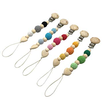 Amyster 5pcs Baby Pacifier Clips Wooden Round Baby Teething Clip Safe Montessori Toys Nursing Baby...