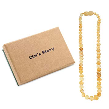 Raw Baltic Amber Teething Necklace for Baby (Unisex)(Butterscotch Raw)(11 Inches) - Baby Gift Sets...