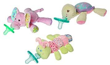 WubbaNub Infant Pacifier 3 Pack, Turtle / Elephant / Caterpillar