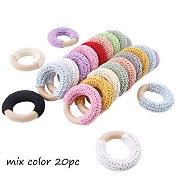 Baby Love Home 20pcs Baby Wooden Teether Crochet Maple Wooden Ring BPA Free DIY Teething Nursing...