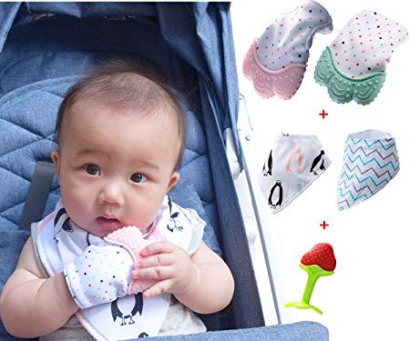 Aidvox teething mitten teething mittens for babies infants bpa free baby teething mittens baby teething glove baby chewing mitten (2 pack Teething Mitten+ 2 pack Drool Bibs + 1 Baby Teething Toys)