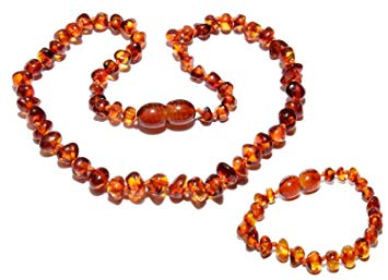 Natural Baltic Amber Baby Teething Necklace and Bracelet Safety Knotted by Ambermilana