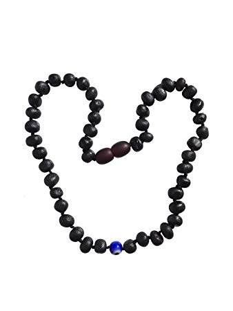 Blue Evil Eye and Raw Baltic Amber Teething Necklace –Natural Pain Relief - Individually Knotted - for...