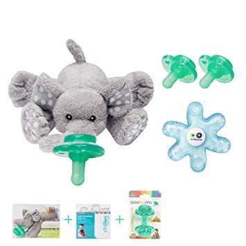 Nookums Paci-Plushies Elephant Gift Set - Pacifier Holder, Teether and Replacement Pacifier 2 Pack (Plush...