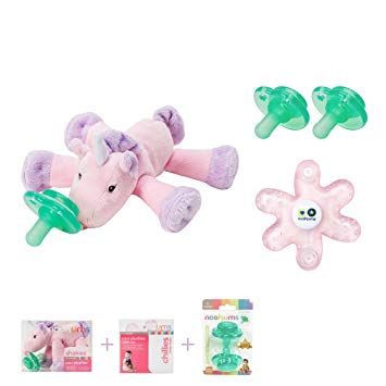 Nookums Paci-Plushies Unicorn Shakies Baby Gift Set - Includes Plush Toy Pacifier Holder with Rattle,...