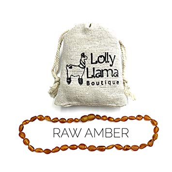 Lolly Llama Beautiful Baltic Amber Teething Necklace for Babies (Unisex) Drooling & Teething Pain Relief...