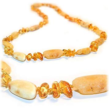 The Art of Cure Baltic Amber Teething Necklace - FTIR Lab Tested Authentic Amber (Raw bean &...