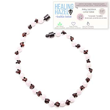 Healing Hazel + baltic bébé – 100% Certified Balticamber Pop Clasp Baby Necklace with Gemstones, Tender...