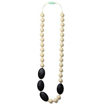 Mama & Little Silicone Teething Nursing Necklace for Mom Rachel, Black