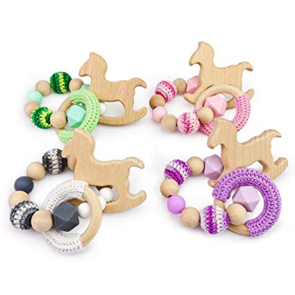Baby Love Home 4pcs Wooden Baby Teether Stroller Wooden Ring Massager Beech Horse DIY Silicone Beads Bracelet Gift Newborn Mom Stroller Toy