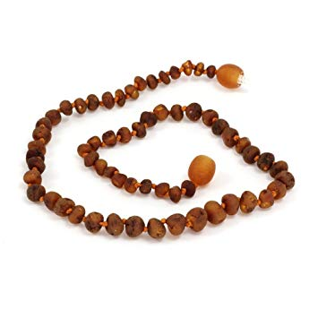 Momma Goose Baltic Amber Baby Necklaces (small, baroque unpolished cognac)